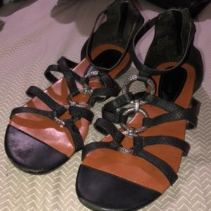 Black and Silver Gladiator Sandals